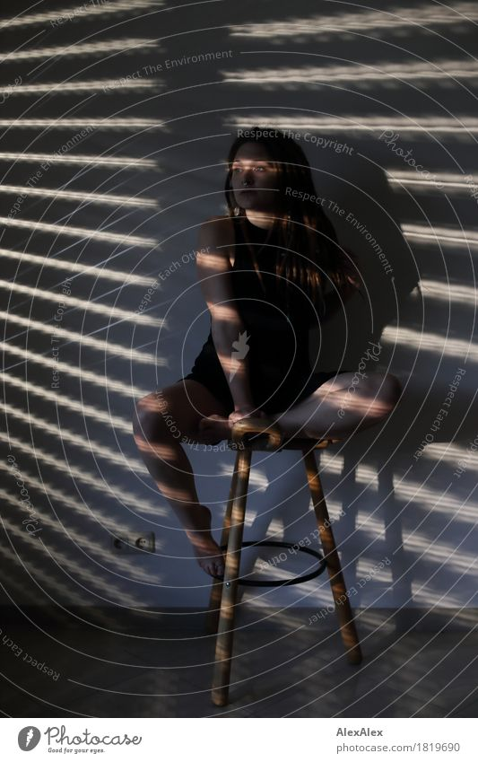 Yes, Lou. Exotic Joy Room Venetian blinds Stool tripod Shadow play Young woman Youth (Young adults) Face Legs 18 - 30 years Adults Dress Barefoot Brunette