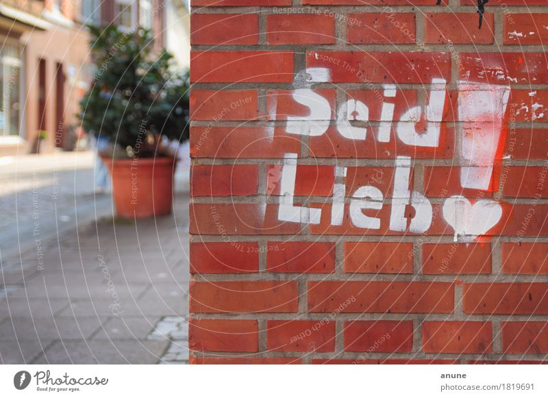 City Red House (Residential Structure) Wall (building) Love Graffiti Wall (barrier) Art Moody Orange Characters Communicate Heart Uniqueness Cute Youth culture