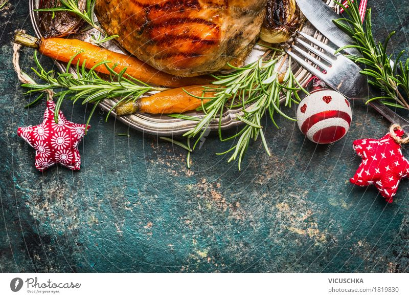 Christmas & Advent Food photograph Eating Style Feasts & Celebrations Design Nutrition Decoration Table Herbs and spices Vegetable Tradition Crockery Plate Meat