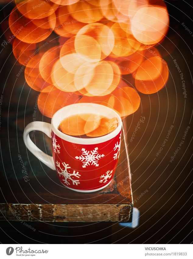 Winter snowflake cup with hot tea and bokeh Beverage Hot drink Tea Cup Lifestyle Design Living or residing Flat (apartment) Office Retro Fragrance Style