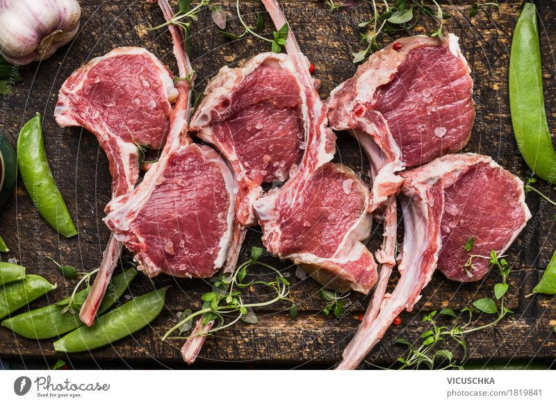 Frenched Racks Lamb chop with green pods Food Meat Vegetable Nutrition Dinner Banquet Organic produce Style Design Table Kitchen Barbecue (apparatus) Husk