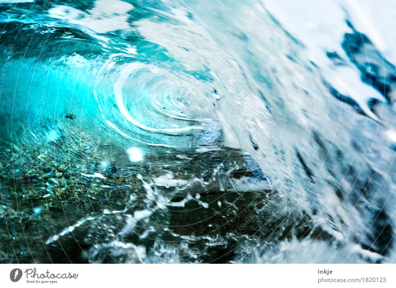 tube Elements Water Summer Waves Coast Ocean Wave action Wild Spill over Surf Splash Light blue Tunnel vision Flip over Sea water Swell Colour photo