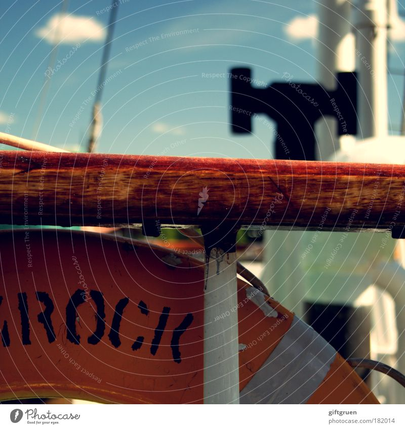 Man overboard! Colour photo Exterior shot Deserted Day Sign Characters Threat Fear of death Life belt Rescue Navigation ship Watercraft Sailboat peril Dangerous