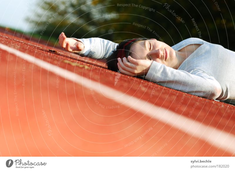 Youth (Young adults) Hand Green Red Calm Face Relaxation Feminine Gray Happy Contentment Woman Lie Sleep Break Young woman