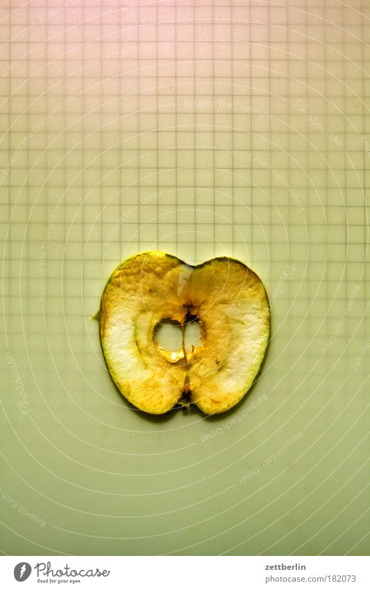 Old Nutrition Fruit Circle Apple Harvest Ring Slice Kernels & Pits & Stones Checkered Copy Space Apple harvest Immolation
