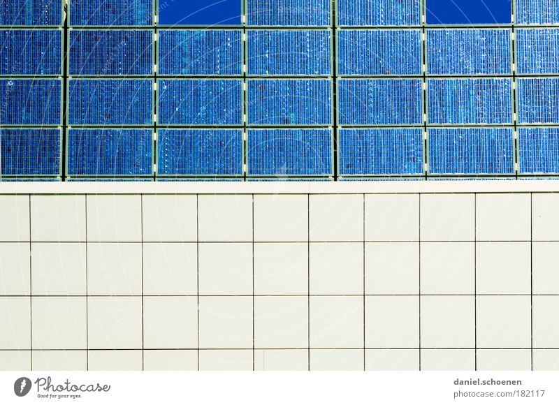 blue - white Abstract Structures and shapes Technology Energy industry Renewable energy Solar Power Wall (barrier) Wall (building) Facade Design Advancement