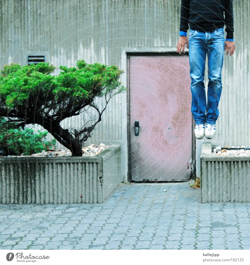 i´m leaving planet earth Colour photo Multicoloured Exterior shot Day Lifestyle Career Success Human being Masculine Man Adults Hand Stomach Legs Feet 1 Climate