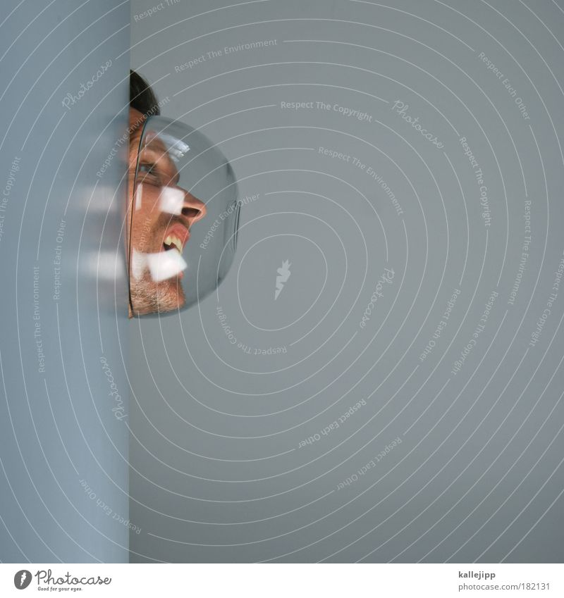 Human being Man Face Eyes Head Adults Mouth Reflection Skin Glass Nose Gas Portrait photograph Future Safety Teeth