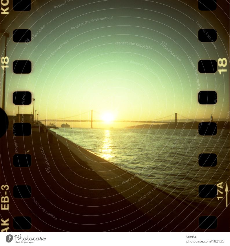 Sunrise over the Tejo Vacation & Travel Far-off places Freedom Summer Summer vacation Cloudless sky Sunset Beautiful weather River bank Tejo Bridge Lisbon