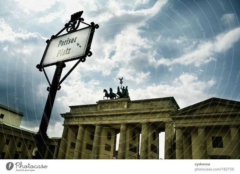 Pariser Platz Colour photo Exterior shot Detail Deserted Copy Space right Copy Space top Day Light Shadow Contrast Central perspective Culture Sky Places Gate