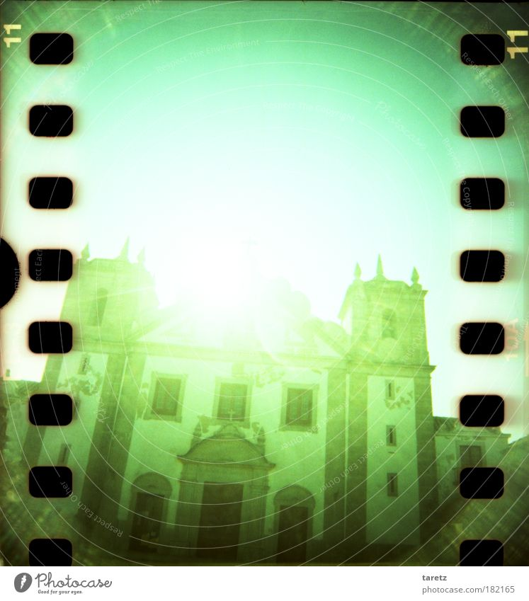 Green Building Religion and faith Large Church Threat Might Digits and numbers Entrance Historic Belief Colour Light Tourist Attraction Portugal Flashy