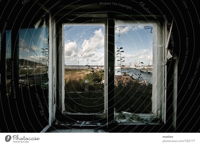 sea view Dream house Interior design Wallpaper Television Beautiful weather Baltic Sea Small Town Harbour Ruin Fishing boat Glass Old Dirty Dark Gray Calm