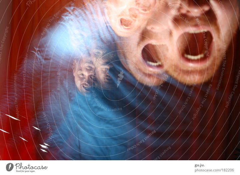 Blue Red Face Dark Jump Power Art Crazy Speed Dangerous Threat Wild Anger Creepy Looking Evil