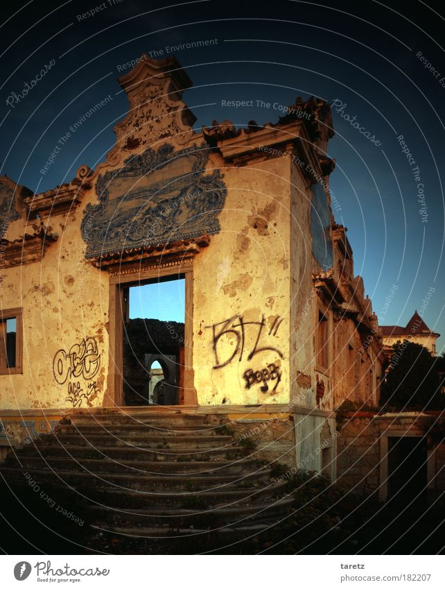 without Title II Graffiti Tile Cloudless sky Summer Beautiful weather Portugal House (Residential Structure) Farmhouse Wall (barrier) Wall (building) Stairs
