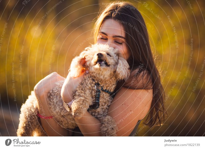 Human being Woman Dog Nature Youth (Young adults) Summer Young woman Animal Joy 18 - 30 years Adults Environment Love Autumn Feminine Happy