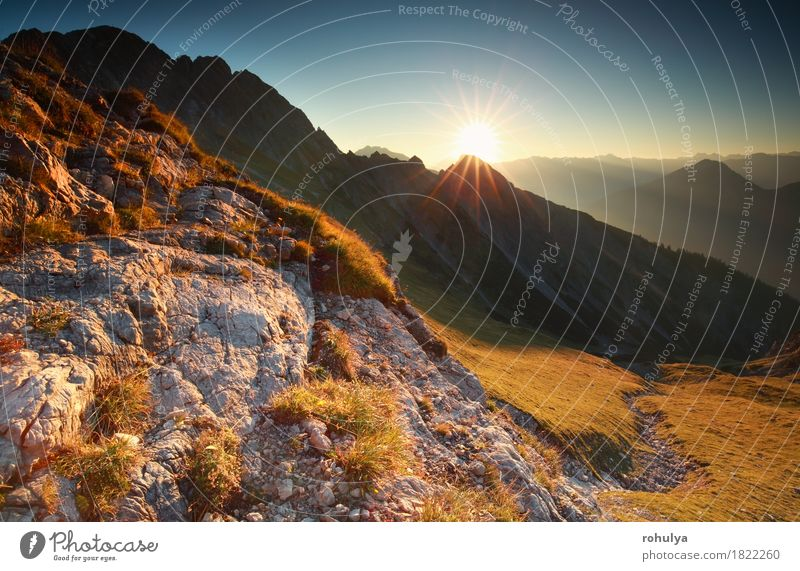 sunrise in rocky Alps, Bavaria, Germany Sun Nature Landscape Sky Autumn Meadow Rock Stone Serene sunshine sunny gold Cliff Alpine peak Vantage point scenery