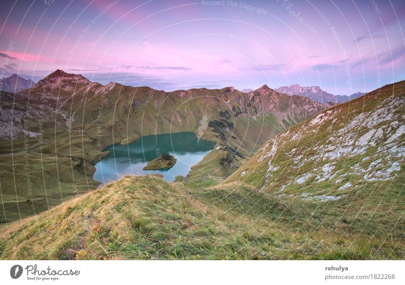 alpine lake Schtecksee at sunrise, view from mountaintop Vacation & Travel Mountain Climbing Mountaineering Nature Landscape Sky Autumn Meadow Hill Rock Alps