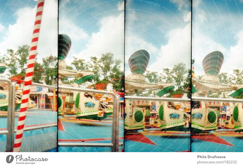 funfair Colour photo Multicoloured Exterior shot Lomography Day Sunlight Leisure and hobbies Playing Children's game Trip Summer Fairs & Carnivals Aviation