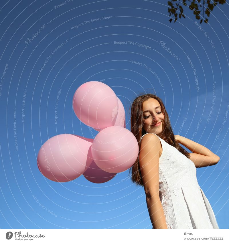 . Feminine 1 Human being Sky Leaf Dress Brunette Long-haired Balloon Relaxation To hold on Smiling Beautiful Happy Contentment Joie de vivre (Vitality) Passion