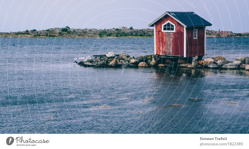boathouse Fishing (Angle) Adventure Summer Ocean Landscape Coast Bay Baltic Sea Hut Boathouse Catch Vacation & Travel Old Simple Natural Retro Optimism
