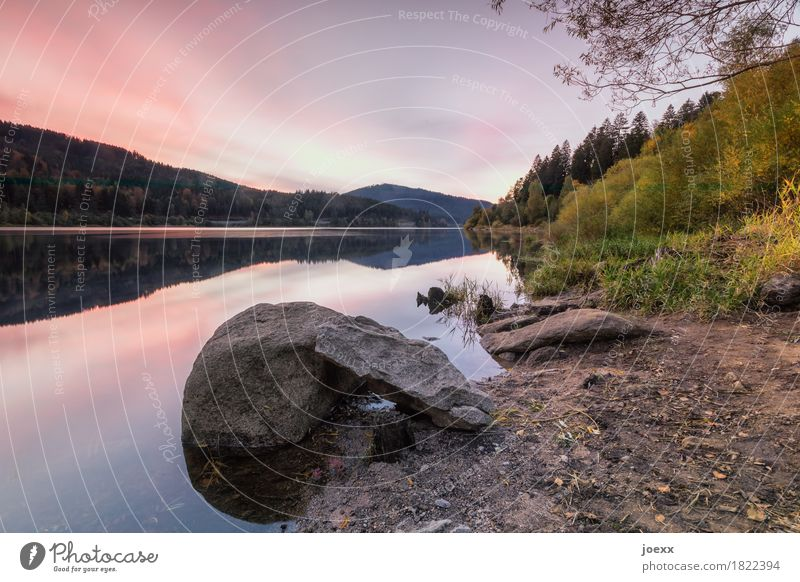 In silence Landscape Sky Rock Mountain Lake Schwarzenbach Reservoir Large Brown Green Orange Calm Idyll Nature Colour photo Exterior shot Deserted Twilight