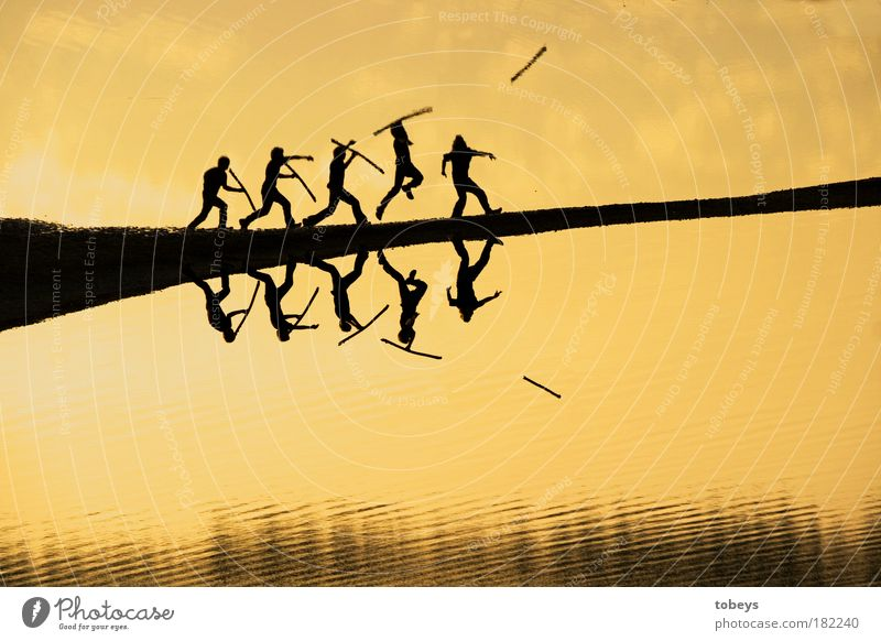 Human being Movement Coast Jump Masculine Waves River Lake Lakeside Action Track and Field Attachment Past Hunting River bank Exterior shot