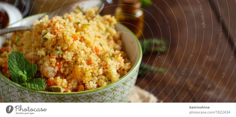 Couscous with shrimps and vegetables Seafood Vegetable Grain Lunch Dinner Bowl Brown Yellow Tradition Africa african Algerian Arabia Cooking couscous cuscus