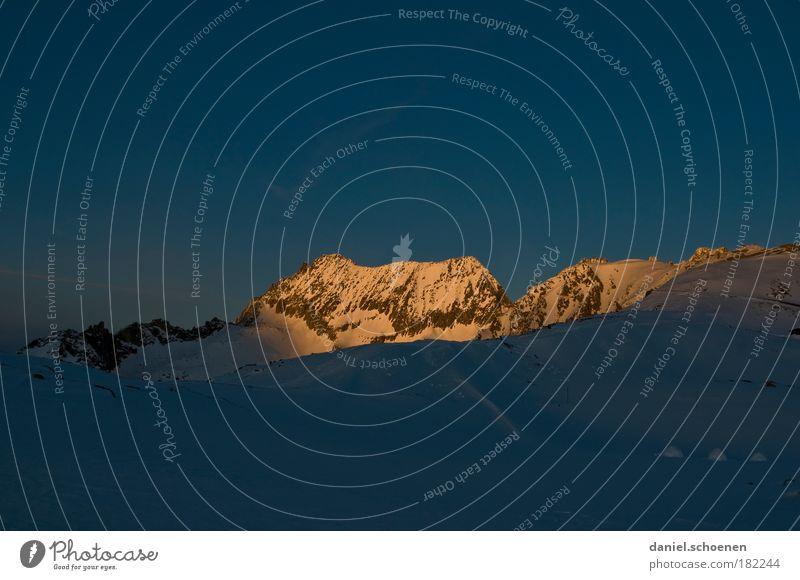 Nature Blue Winter Cold Mountain Alps Peak Switzerland Sunrise Cloudless sky Snowcapped peak