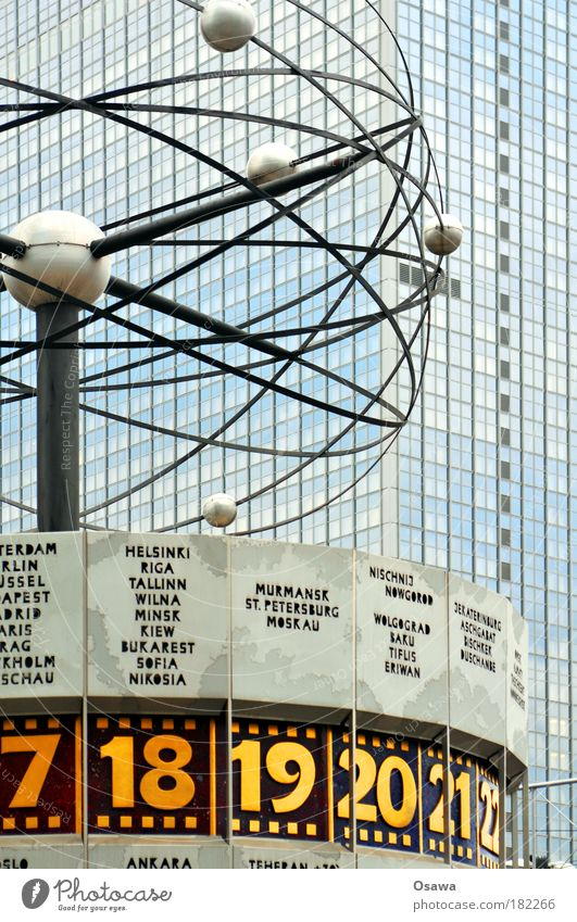hourly hotel Berlin Alexanderplatz World time clock Clock Time Planet Circle Round Sphere Orbit Sun Mercury Earth Mars Venus Jupiter Uranus Saturn Hotel Facade