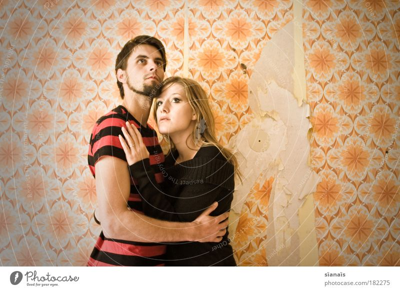 Human being Love Feminine Couple Together Fear Masculine Retro Communicate Romance Upper body Copy Space Film industry Protection Kitsch Derelict