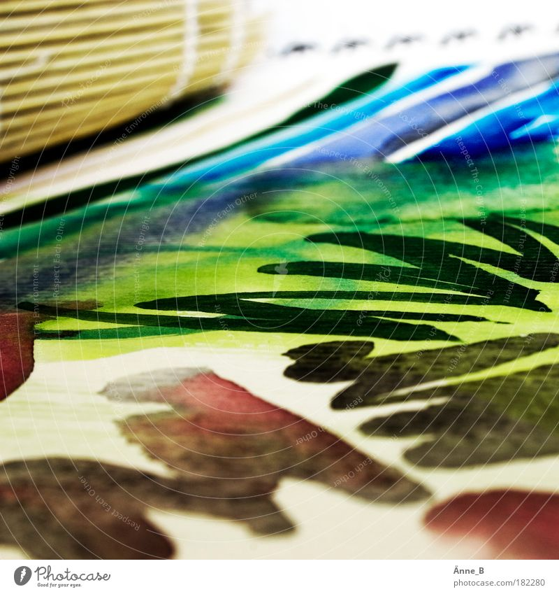 Colour meets paper Leisure and hobbies Watercolors Painting and drawing (object) Paper Line Stripe Work and employment Draw Infinity Wet Blue Brown Green Red