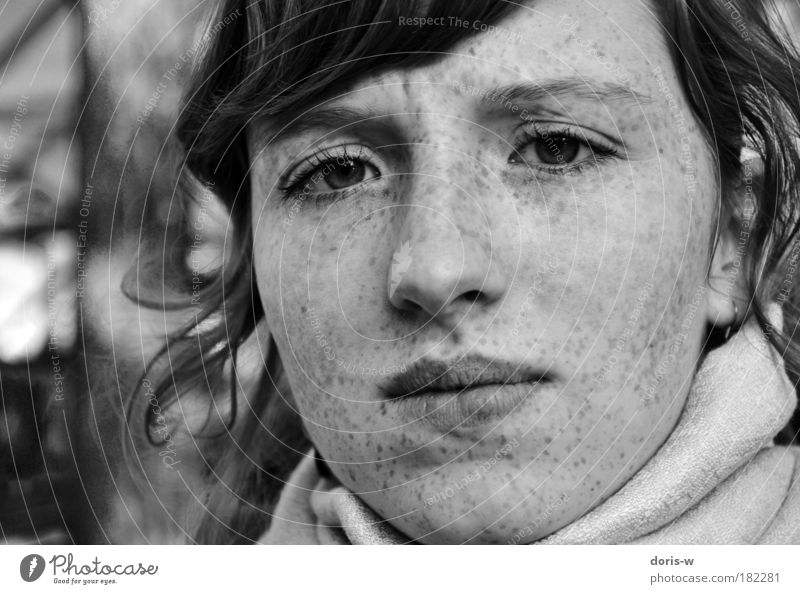 confused Black & white photo Feminine Young woman Youth (Young adults) Woman Adults Face Interest Freckles Looking Beautiful wrinkle Forehead Lips Bangs