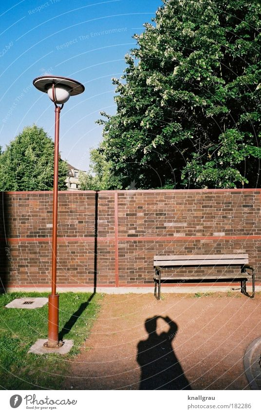 Calm Relaxation Wall (building) Wall (barrier) Park Break Bench Lantern Street lighting Seating Take a photo Self portrait Park bench Lamp post