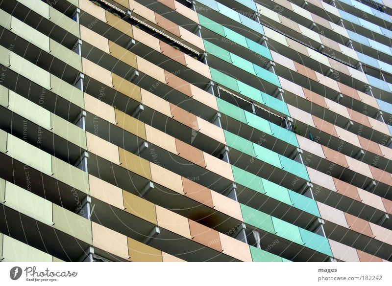 348 FS Colour photo Multicoloured Exterior shot Deserted Day Small Town House (Residential Structure) High-rise Manmade structures Building Architecture Balcony