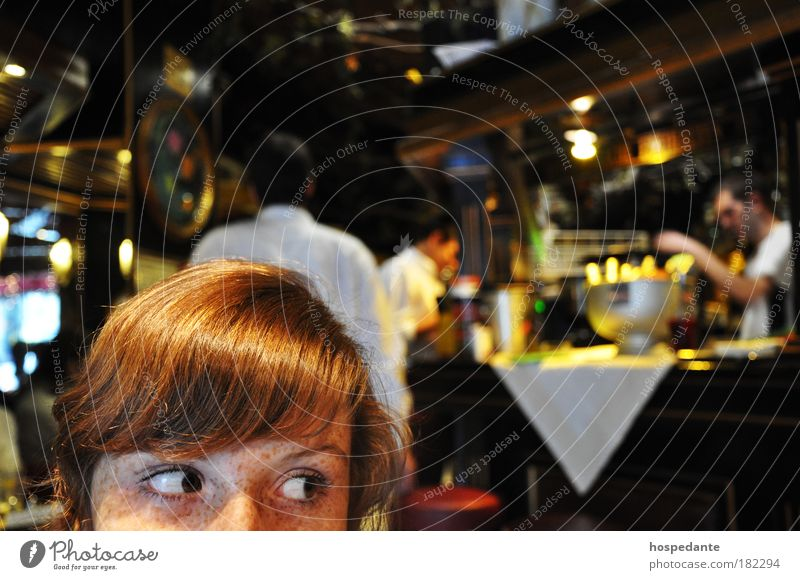 Girl with golden hair Looking away Hair and hairstyles Café Vienna Young woman Youth (Young adults) Eyes Freckles 18 - 30 years Adults Red-haired Curl Bangs