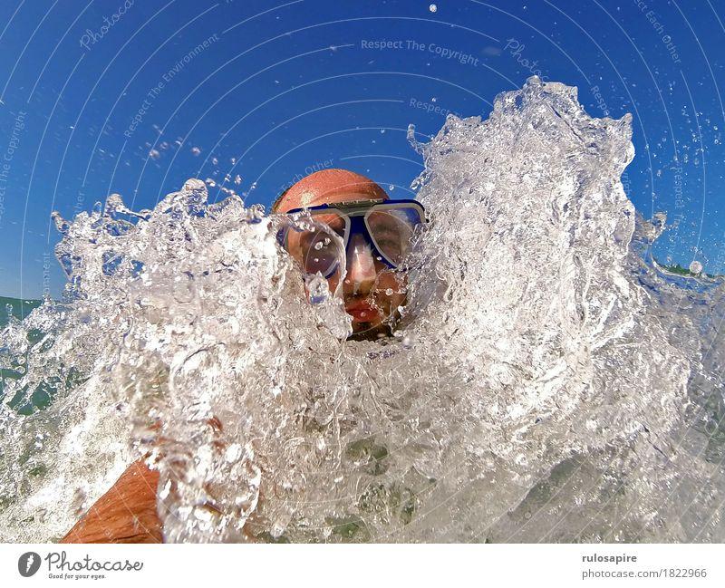 bbbwwlupp 1 Vacation & Travel Summer Summer vacation Ocean Waves Aquatics Swimming & Bathing Masculine Man Adults Head Human being Water Coast Dive Blue White