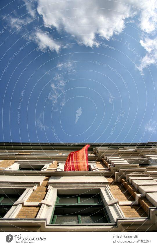 Sky Summer Calm House (Residential Structure) Clouds Window Freedom Air Facade Open Light Brick Upward Drape