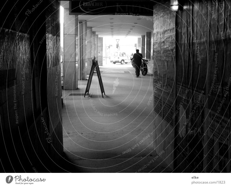 passage Passage Wood Construction site Human being Black & white photo