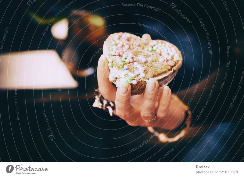 SweetHeart Food Cake Dessert Candy Baked goods Eating To hold on Delicious Brown Multicoloured Debauchery Colour photo Interior shot Artificial light Light