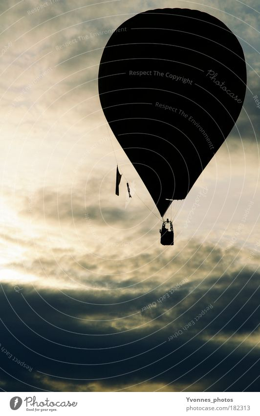 hot air Calm Trip Freedom Air Sky Clouds Hot Air Balloon Moody Ease Events Hover Weightlessness Release Atmosphere Light Shadow Silhouette Colour photo