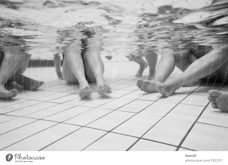 ~ 6 feet under Black & white photo Underwater photo Artificial light Deep depth of field Wide angle Event Swimming pool Life Legs Feet 3 Human being Water Fluid