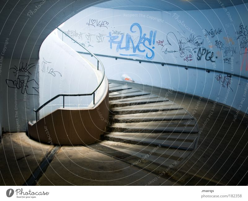 Barrier-free Colour photo Deserted Light (Natural Phenomenon) Style Architecture Wall (barrier) Wall (building) Stairs Lanes & trails Characters Graffiti