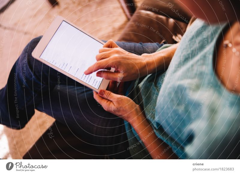 Close-up of Woman using Digital Tablet at Home in Modern house House (Residential Structure) Lifestyle Feminine Business Flat (apartment) Modern Technology Telecommunications Computer Shopping Reading Internet Home Newspaper Email Magazine