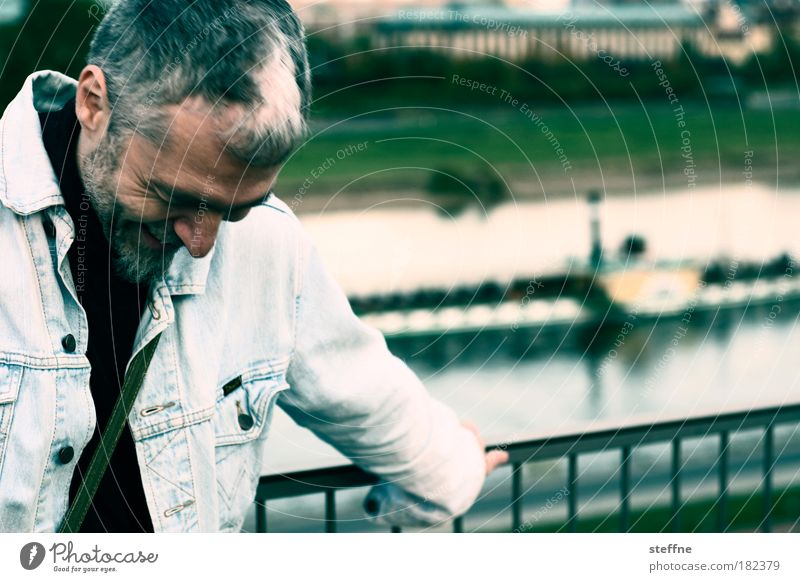 Human being Man Laughter Adults Portrait photograph Masculine Saxony River Dresden Grinning Navigation Smiling Elbe Congenial Steamer Inland navigation