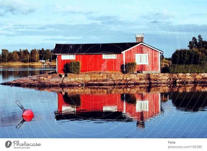 Water Sky Tree Sun Summer Calm Clouds Loneliness House (Residential Structure) Lake Scandinavia Romance Europe Hut Lakeside Beautiful weather