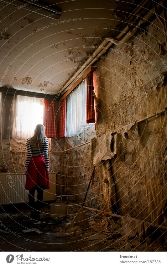 interior architect Colour photo Interior shot Light Long exposure Rear view Forward Human being Feminine Young woman Youth (Young adults) Woman Adults Back Ruin