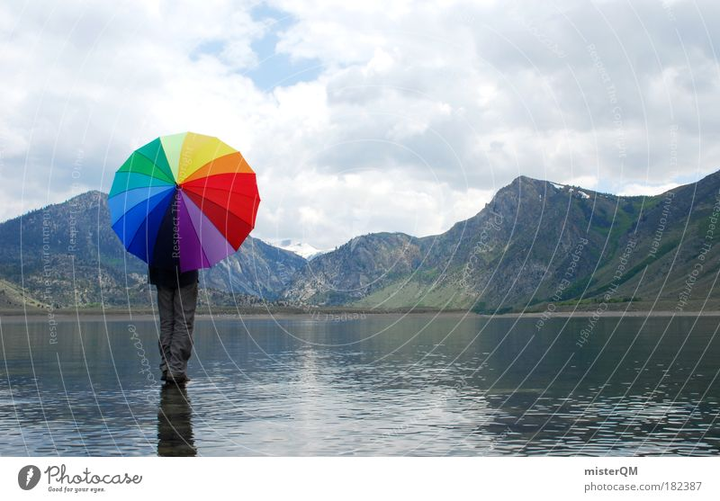 Water strider. Art Esthetic Loneliness Elegant Freedom Umbrella Rain Autumn Weather Lake Crazy Seldom Creativity Illustration Design Idea Prismatic colors