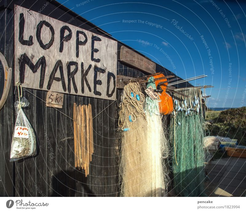 Sky Old Blue Travel photography Retro Beautiful weather Harbour Hut North Sea Collection Wooden wall Denmark Flea market Fishing net North Sea coast Second-hand shop