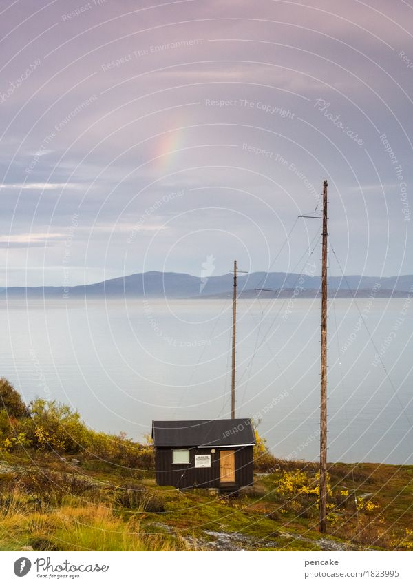 Inconspicuous detail in the sky. Nature Landscape Elements Water Sky Autumn Weather Fjord Horizon Idyll Vacation & Travel Norway Rainbow Colour photo