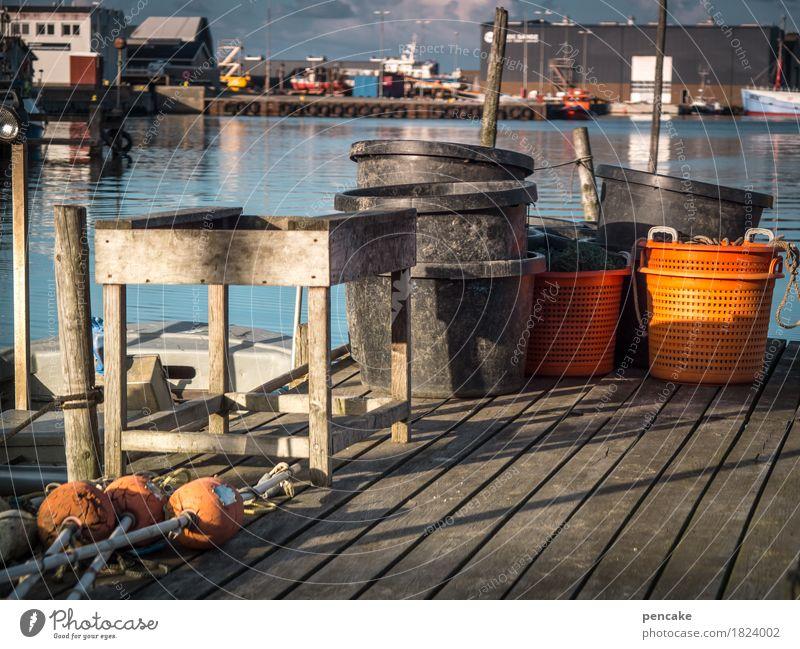 !trash! 2016 | fisherman's friends Landscape Elements Water Coast North Sea Fishing village Trashy Blue Orange Harbour Footbridge Fishery Table Keg Fishing net